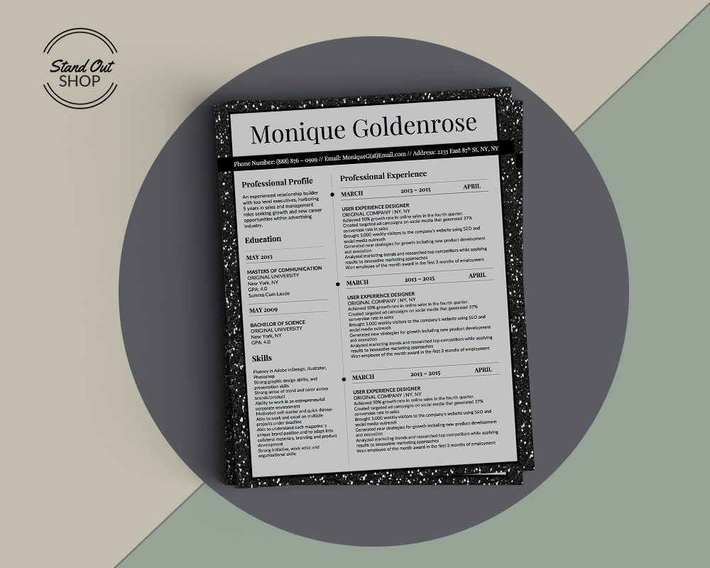 Monique Goldenrose Resume Template - Stand Out Shop
