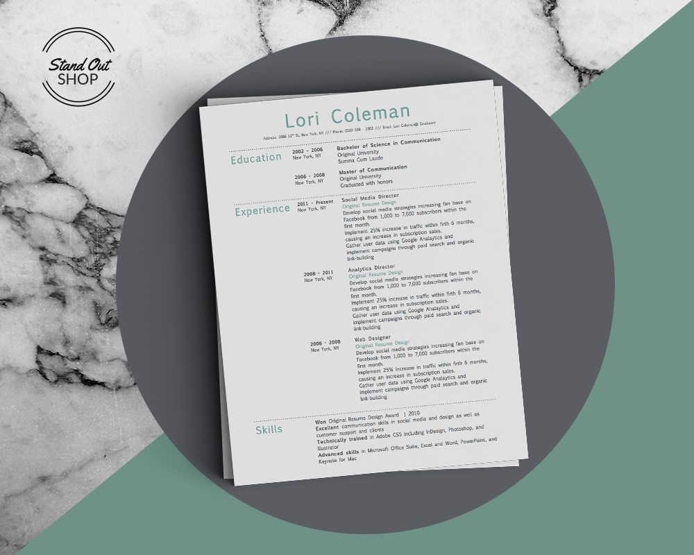 Simple Dots Resume Template  Stand Out Shop