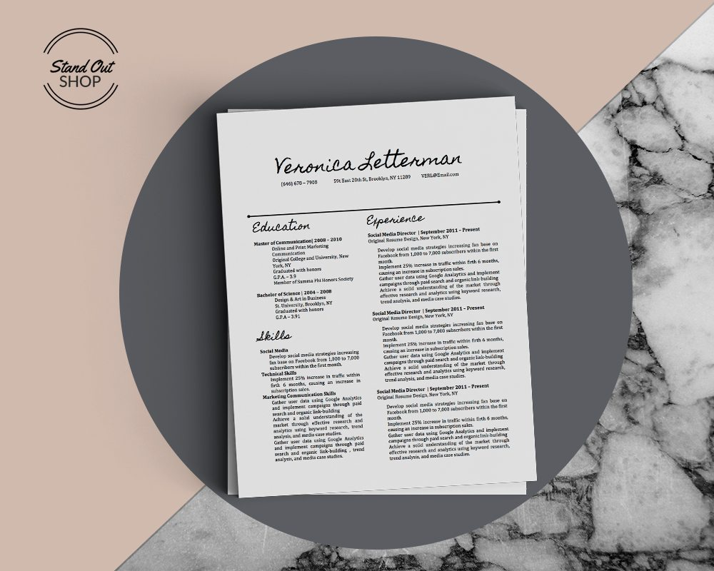 Veronica Letterman Resume Template - Stand Out Shop
