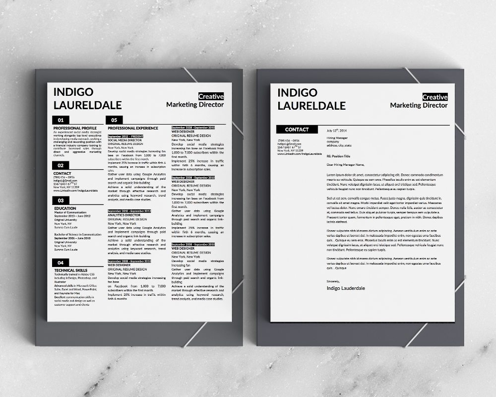 Indigo Resume Template - Stand Out Shop