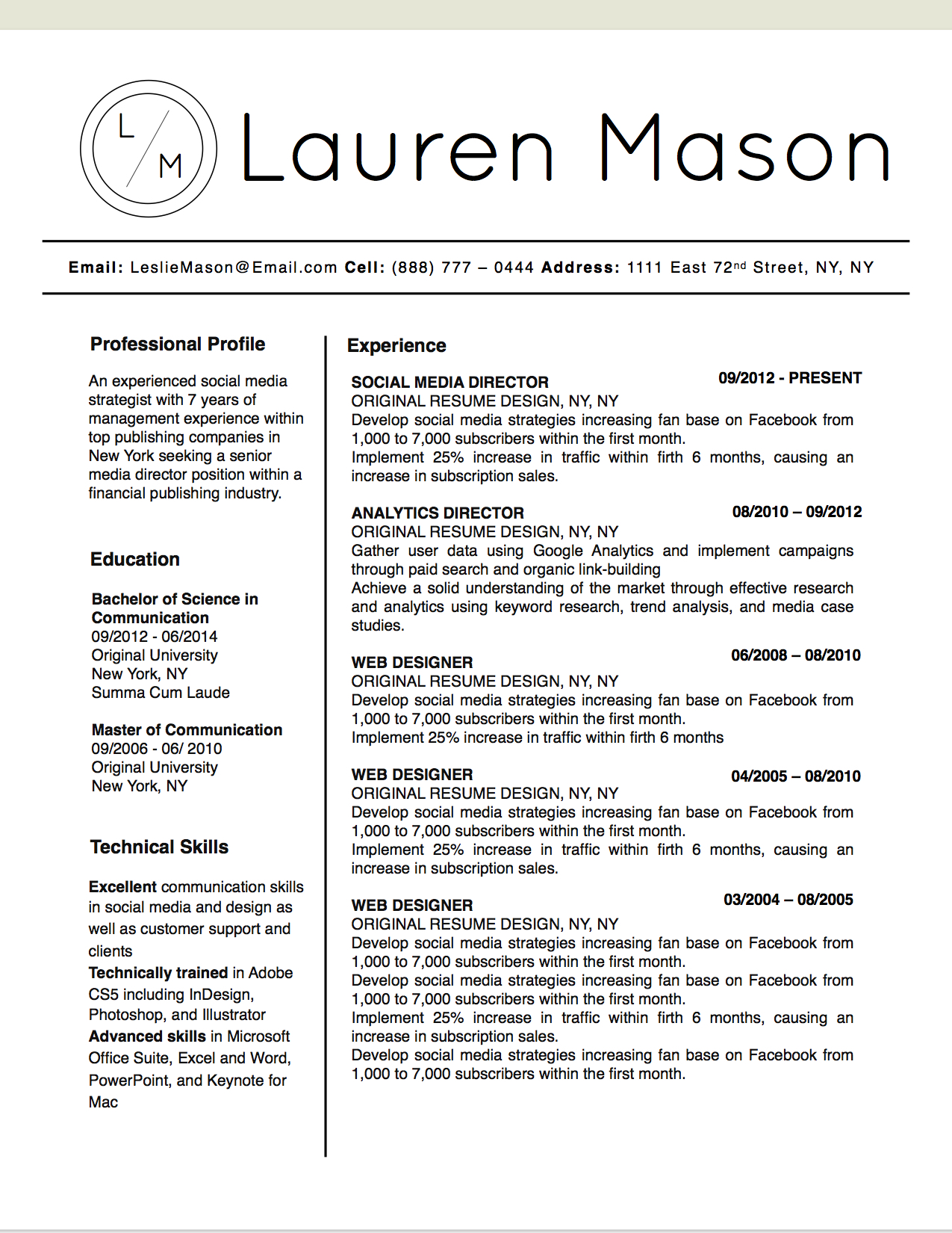 Lauren Mason Resume Template - Stand Out Shop
