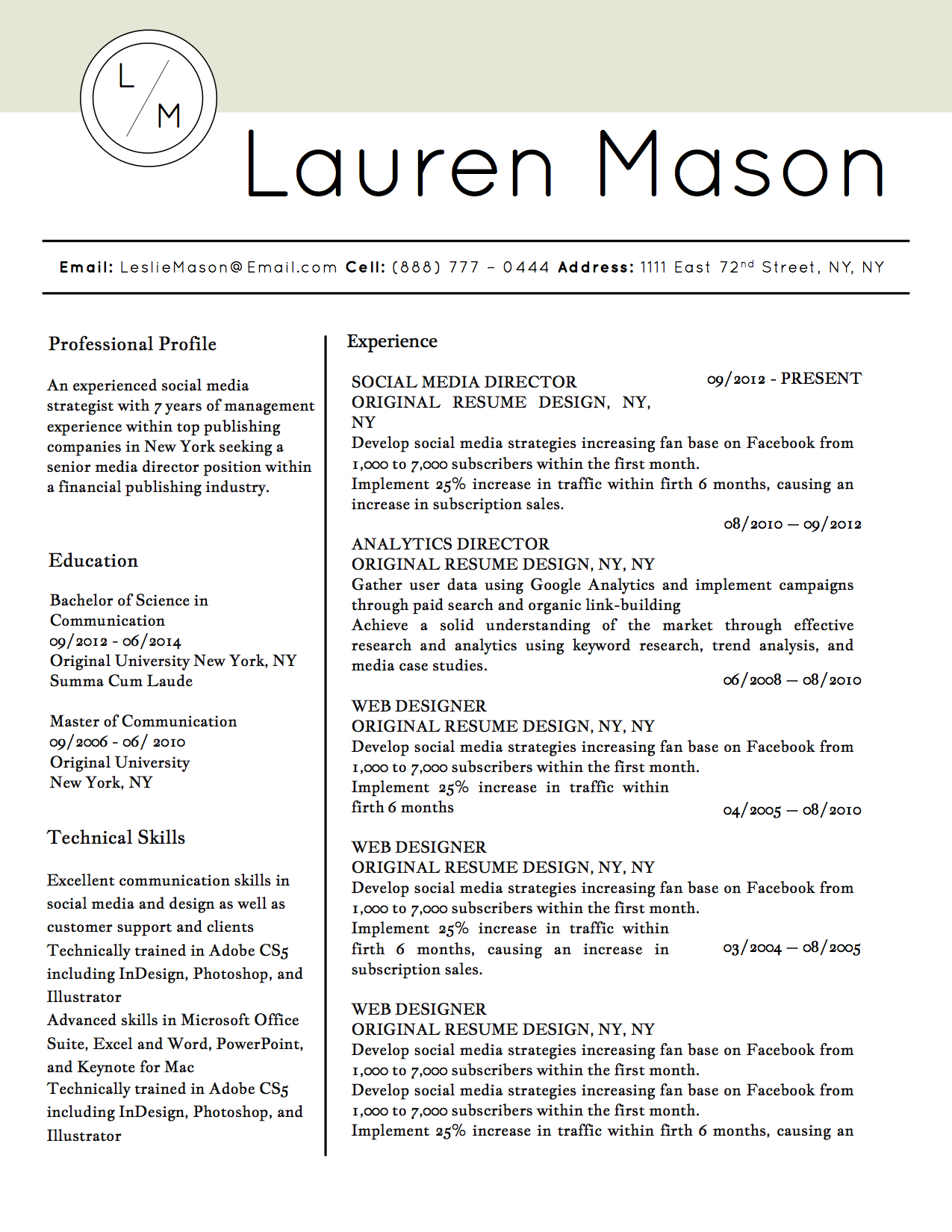 Lauren mason resume template stand out shop for Standout cover letter examples