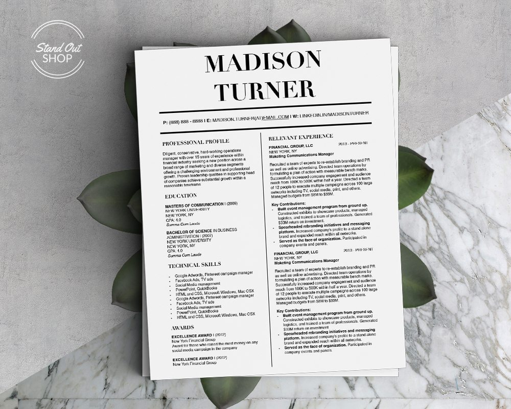 Madison Turner Conservative Business Professional Downloadable Resume Template and Cover Letter Template for Microsoft Word and Apple Pages