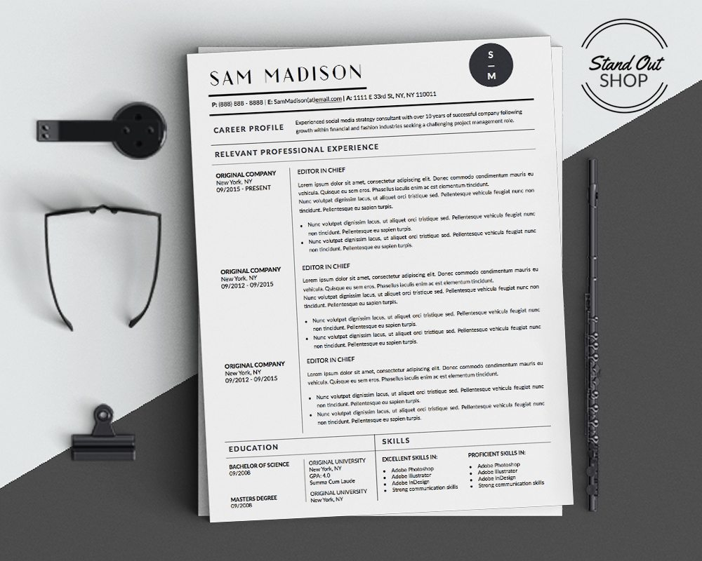 Sam Madison - Resume Template for Word - 5 Best Clean Resume Templates Word of 2019