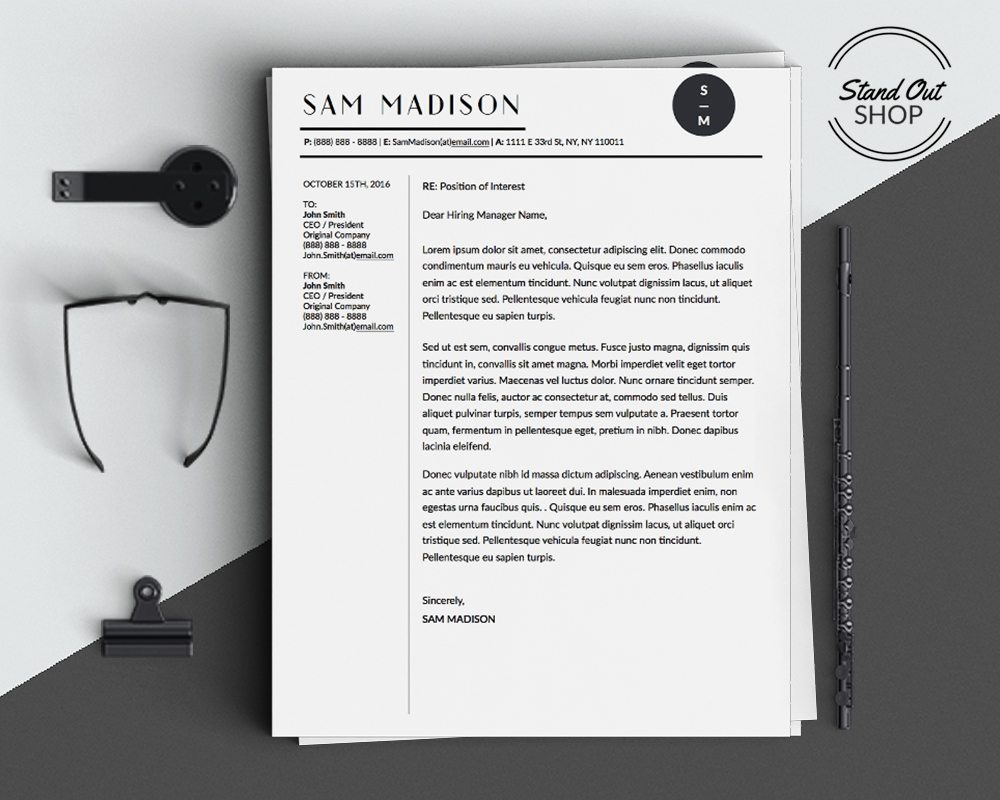 Sam Madison Conservative Business Professional Downloadable Resume and Cover Letter Template and Cover Letter Template for Microsoft Word and Apple Pages