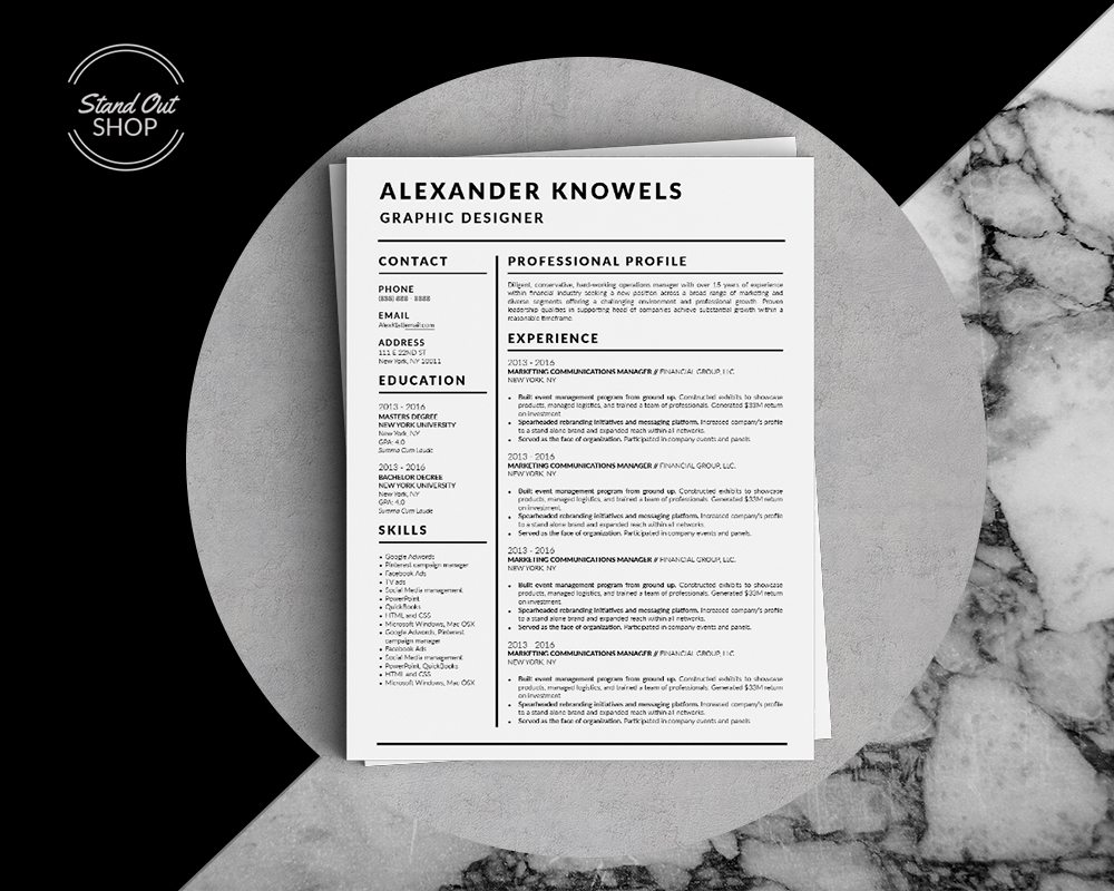 Alexander Knowels - Resume Template for Word - 5 Best Clean Resume Templates Word of 2019