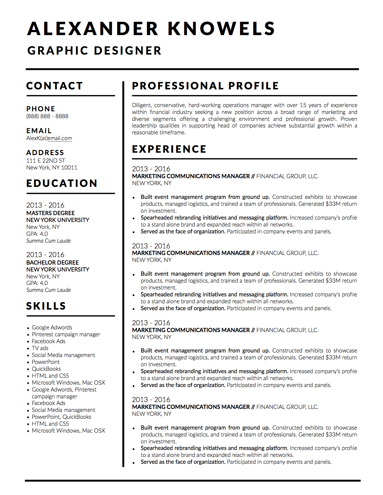 alexander knowels resume template 5 pack for ms word  apple pages  and google docs