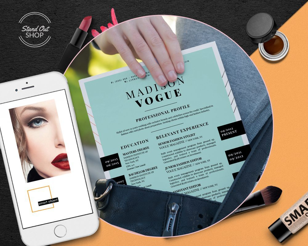 Fashion Resume Template  Microsoft Word  Apple Pages Downloadable