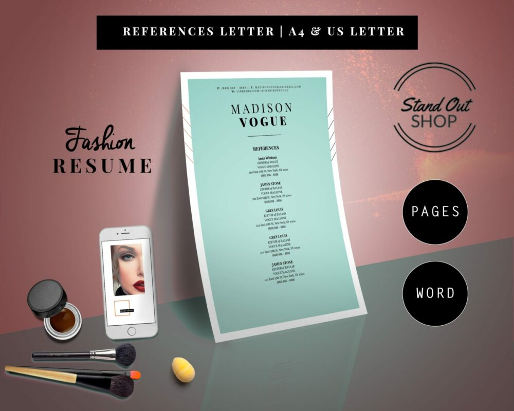 Madison Vogue Fashion Downloadable Resume Template and Cover Letter Template for Microsoft Word and Apple Pages