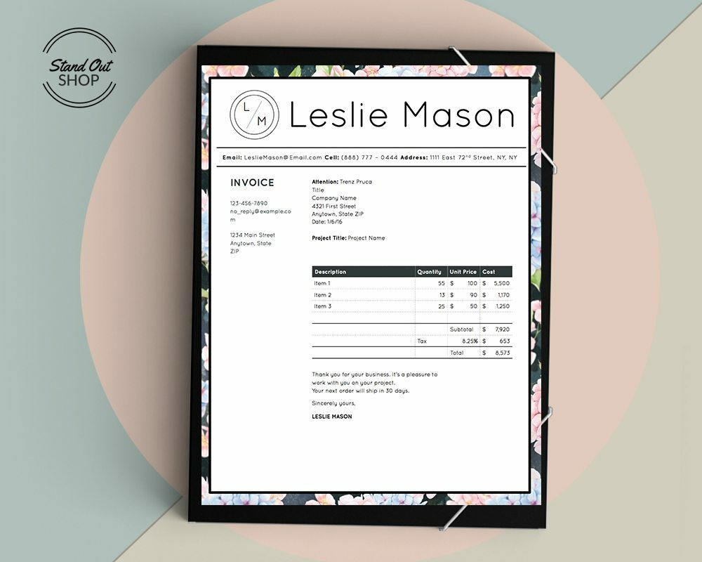 Leslie Mason Invoice Template Stand Out Shop Downloadable Resume Template and Cover Letter Template for Microsoft Word and Apple Pages