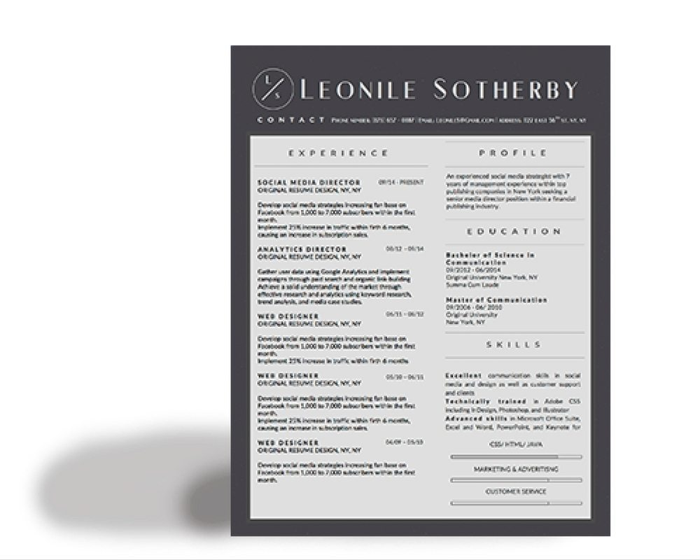 Leonile Sotherby Modern Resume Template  Stand Out Shop