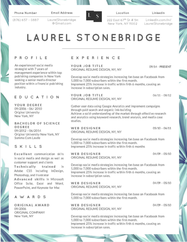 Laurel Stonebridge I - 10-15 Best Creative Resume Templates of 2018