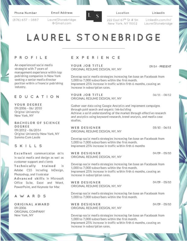 Laurel Stonebridge I - 10-15 Best Creative Resume Templates of 2018