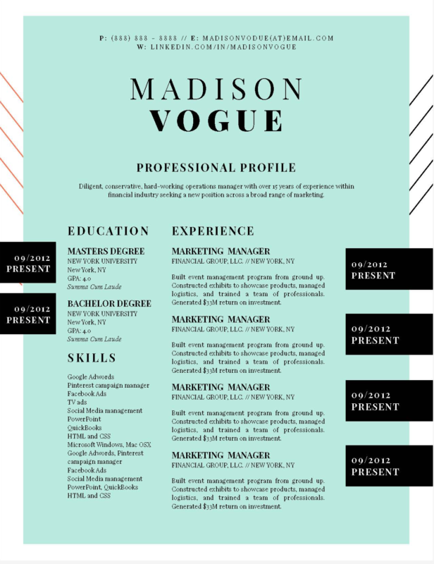 Madison Vogue - 16-15 Best Creative Resume Templates of 2018