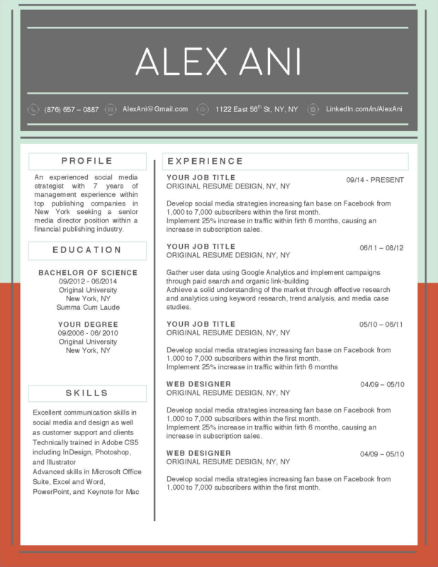 Alex Ani - 2-15 Best Creative Resume Templates of 2018
