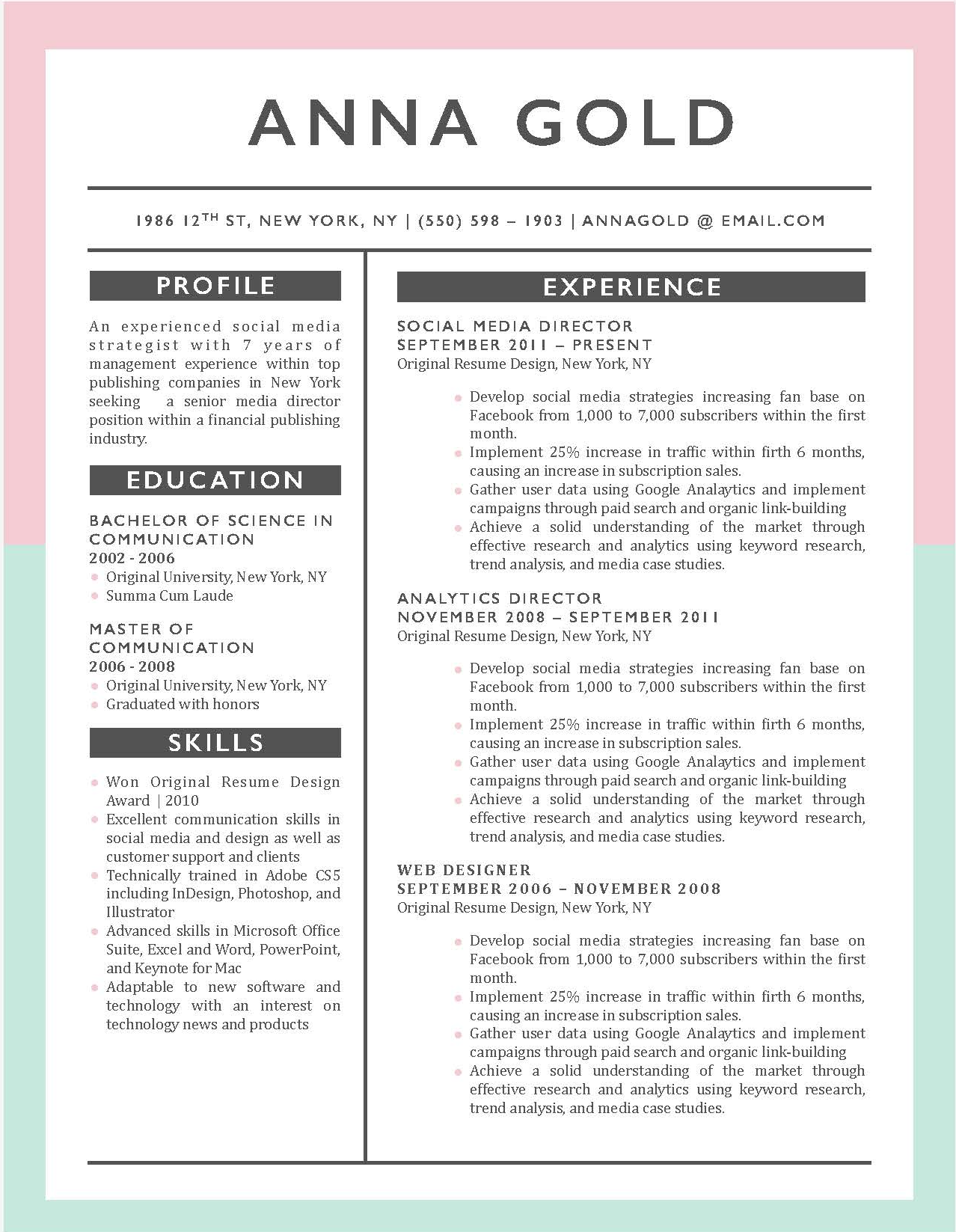 Anna Gold - 5-15 Best Creative Resume Templates of 2018