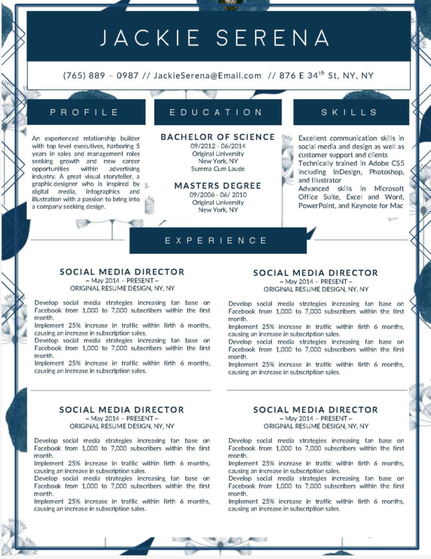 Jackie Serena - 8-15 Best Creative Resume Templates of 2018