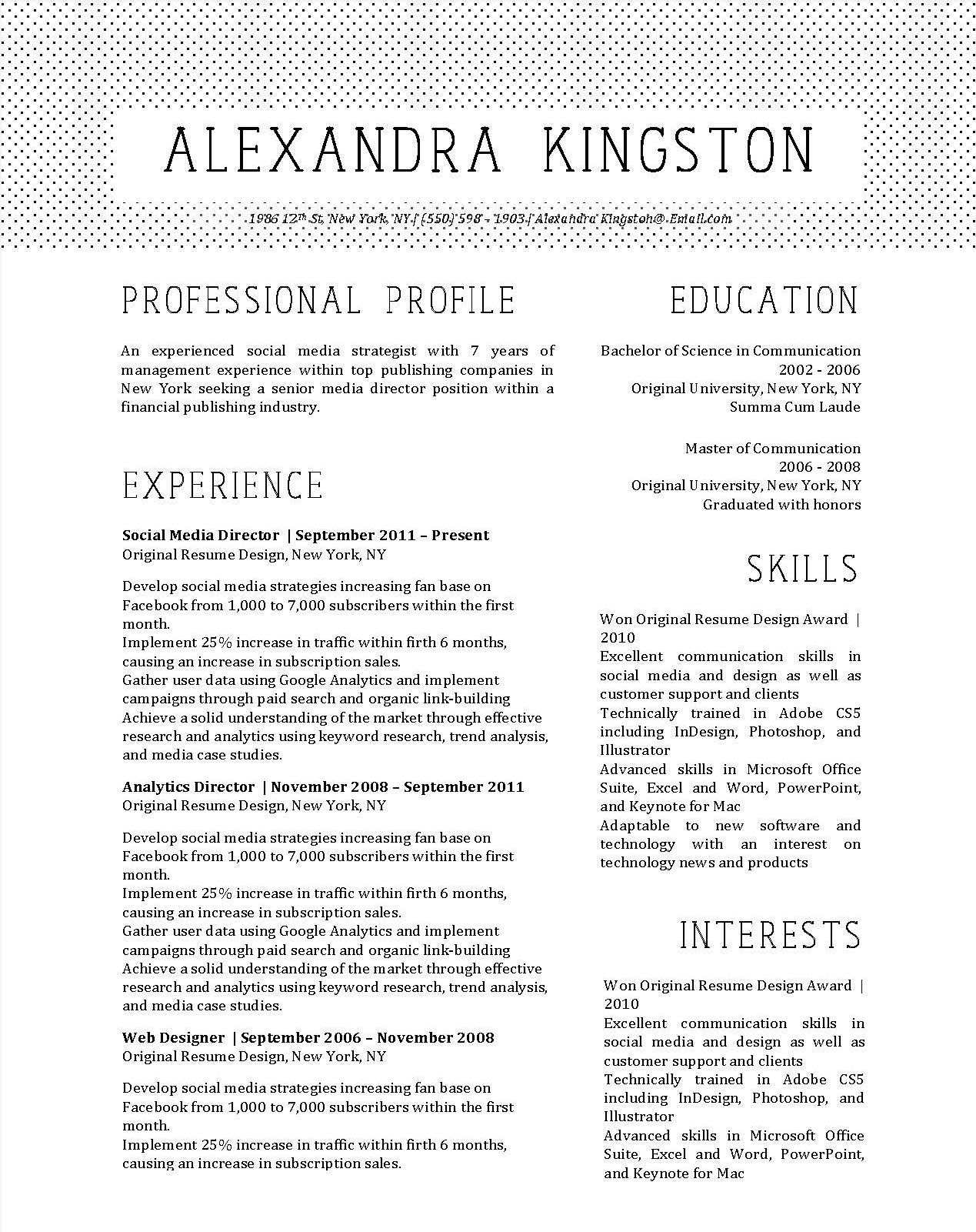 Alexandra Kingston -5 FREE MICROSOFT WORD CV RESUME TEMPLATES