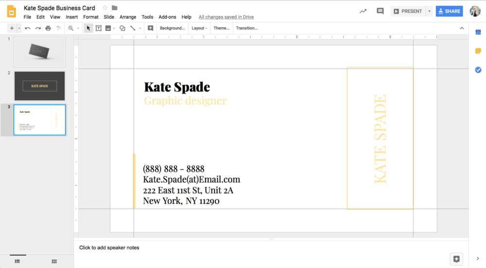 Kate Spade Business Card Template for Google Docs