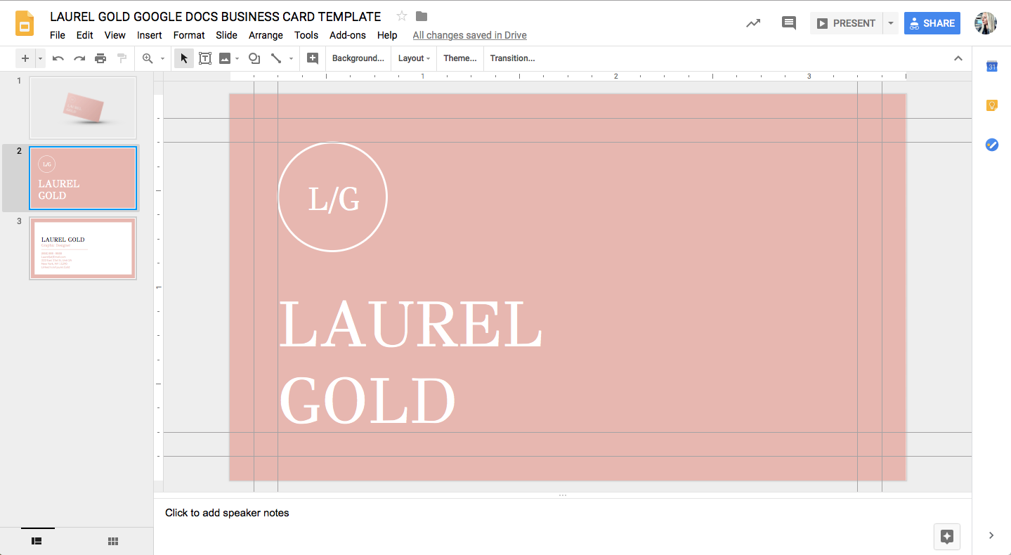 LAUREL GOLD GOOGLE DOCS BUSINESS CARD TEMPLATE STAND OUT SHOP 2