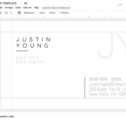 JUSTIN YOUNG GOOGLE DOCS BUSINESS CARD TEMPLATE STAND OUT SHOP