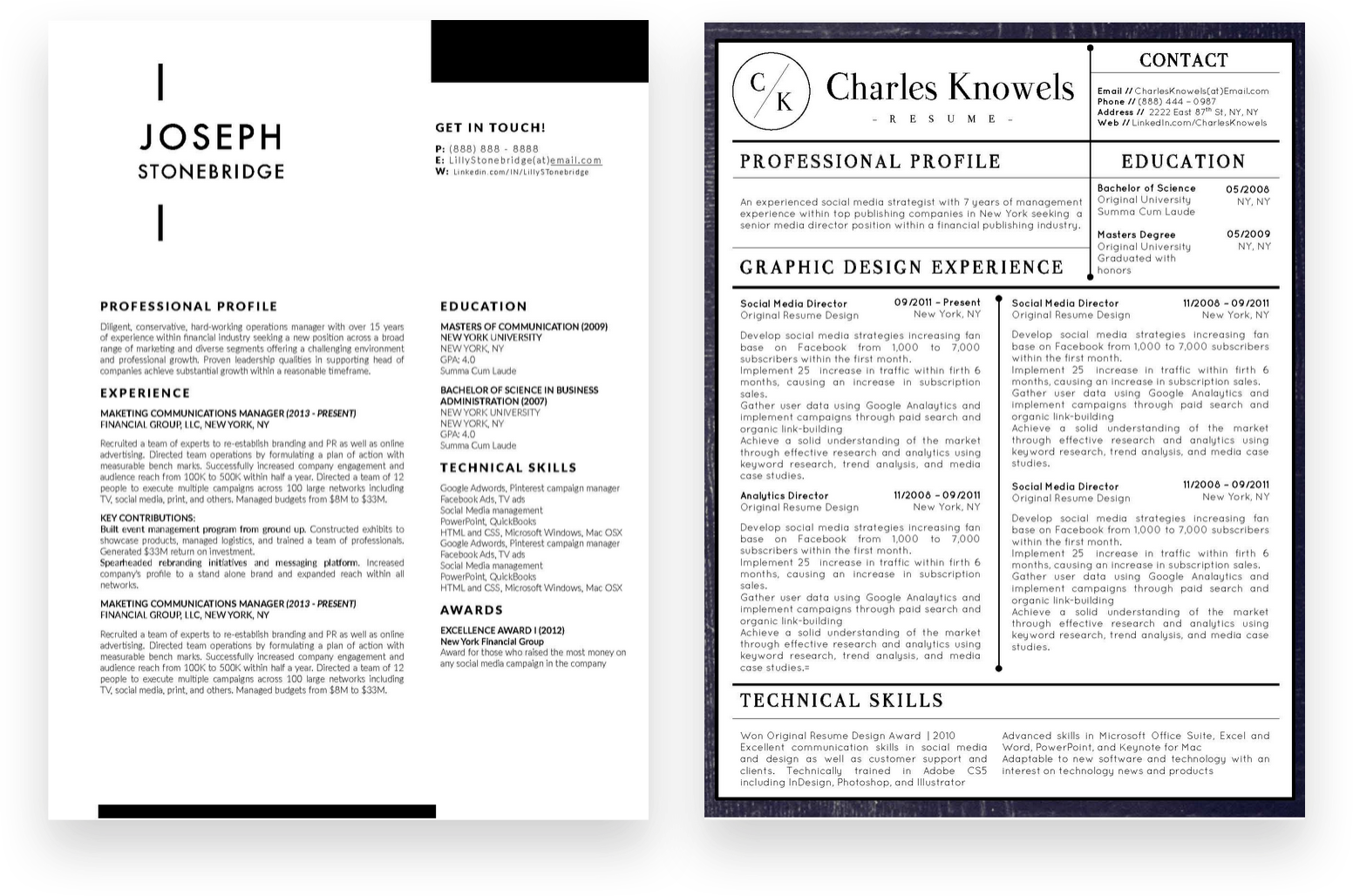conservative resume templates bundle